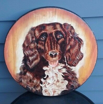 Vtg pyrography woodburning portrait wood plaque dog retriever primitive art
