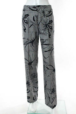 Escada Gray Black Cotton Houndstooth Floral Print Wide Leg Trousers Size 2