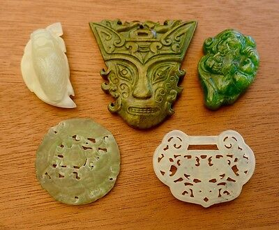 LOT of 5 Vintage Chinese Carved Jade Amulets