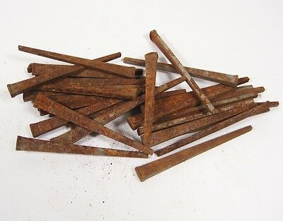 "Lot of 31 Antique VTG Square Cut Raisin Head 2.5"" Rustic Nails NEW OLD STOCK"