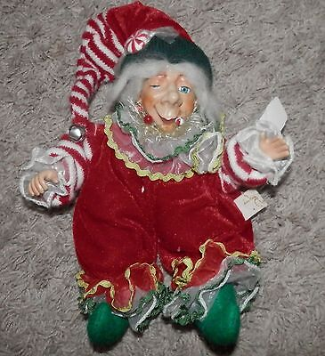 "Katherine's Collection christmas theme winking elf  9"" inches sitting"