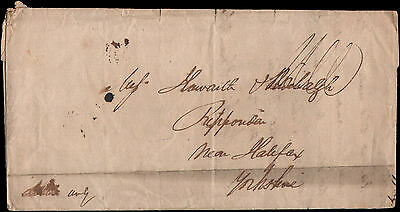 stampless letter to near Halifax, Yorkshire, 1833