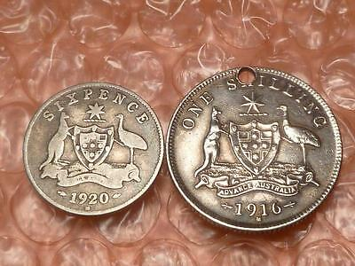 Australia 1916 Shilling, 1920 Sixpence 6 Pence 2 Silver Coins Total