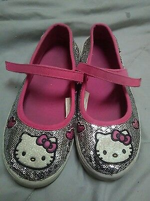 Toddler Girls Hello Kitty Pink Silver Sequin Mary Jane Sneakers Size 1