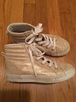 Crazy 8 Girls Gold High Top Sneakers Shoes Size 2 M