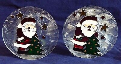 Two Stained Glass Christmas Votive Candle Holders Santa Claus Holiday Tree
