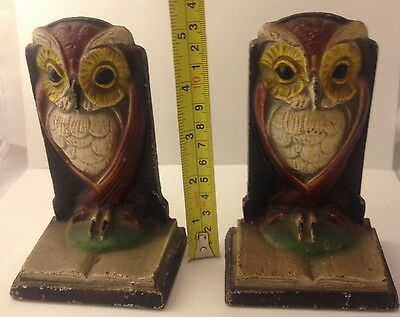 Antique Cast Iron Pair Of Owl Bookends Hand Painted #112616
