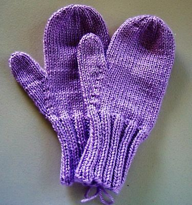 Child's mittens, handmade, large (8-10 yrs), soft & warm, orchid