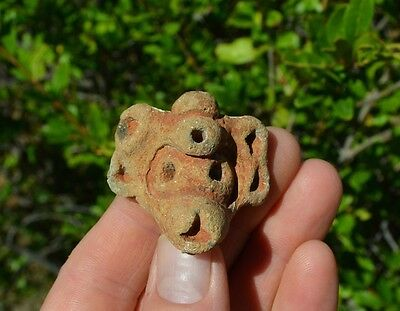 Authentic Pre Columbian Taino Pottery Bowl Head Fragment Dominican Republic