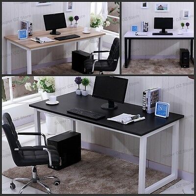Office Computer Desk Wood Metal Study Student Home Table Workstation Steel Legs