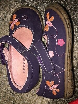 Sonoma Toddler Girls size 7 Mary Jane Shoes pink Purple leather suede