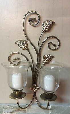 Homco Home Interiors Sconce with two votive candleholdrrs and votive candle pair