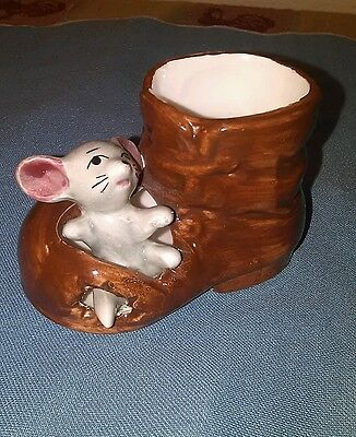 "Vintage Mini Ceramic ""Mouse in a Boot"" Figurine 1950s Japan"