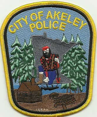 """*NEW*  Akeley, MN (4"""" x 5"""") shoulder police patch (fire)"""