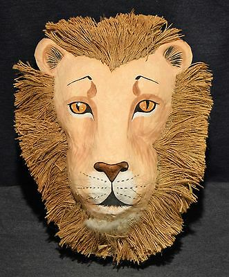 """Vintage Paper Mache Lion Wall Hanging Mask Large 17"""" X 13.5"""" Scary Eyes WOW !!!"""