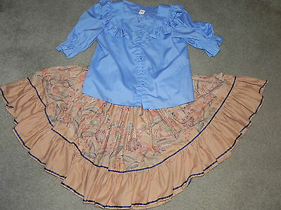 Malco Modes Blue and Tan Squaredance Outfit Skirt and Shirt