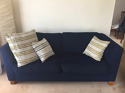 Lounge Suite - 2 Chairs & 3 Seater Couch - Navy