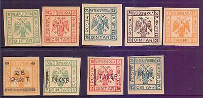 Albania  1920's  Unissued Stamps (9), mint.