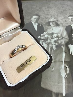 STUNNING! VINTAGE ENGAGEMENT ETERNITY WEDDING 14CT SOLID GOLD DIAMOND RING 1970s