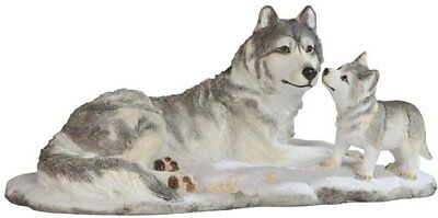 "10.25"" Wolves in Snow Nature Wildlife Animal Statue Collectible Wild Wolf Pups"