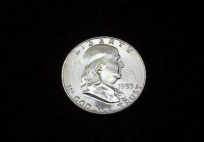 1953-D Franklin Silver Half Dollar! Choice Bu! Nice Coin!