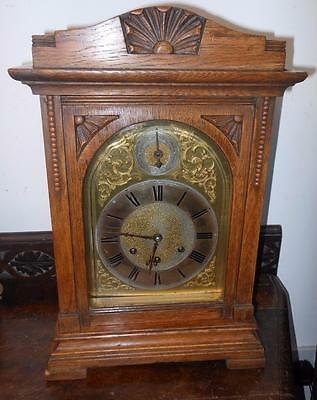 oak cased gustav BECKER westminster chimes bracket clock c1900s