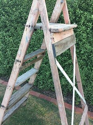 Vintage Industrial Timber Wood Ladder Shabby Chic Garden Plant Stand large