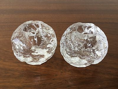 Pair Kosta Boda 'snowball' glass candle holders, Swedish design