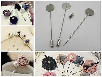 10 Silver Metal Suit Chest Brooch Lapel Pins For Wedding Craft DIY