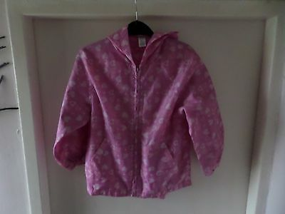 Pink With Hearts Design On Showerproof Hooded Coat, 5 - 6 Years