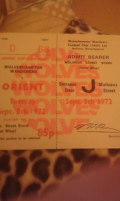 Football Ticket WOLVES v ORIENT 5/9/1972 LEAGUE CUP