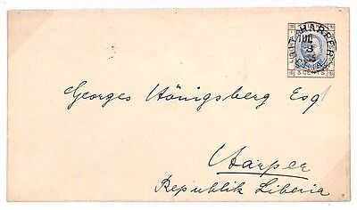 D250 1885 LIBERIA Postal Stationery E Superb Used *Harper* CDS {samwells-covers}