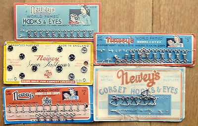 5 x Newey's Hooks & Eyes 1940s/50s product cards with contents, sewing interest