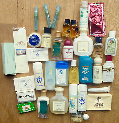 Instant collection 30+ hotel give-away soaps, shampoos, bath salts, etc 1980s