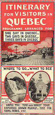 Orig 1920s Quebec Red Autobus fold-out tourist guide, Canada, tourism interest