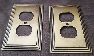 Vintage Beveled Brass Outlet Covers - Lot of 2