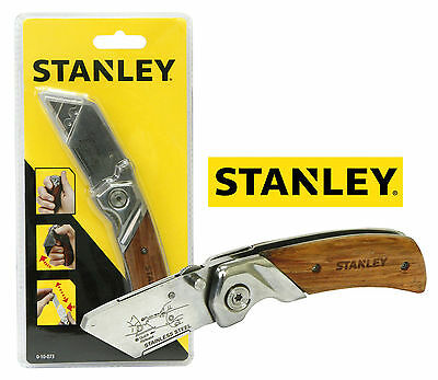 100% Authentic Stanley 0-10-073 Wooden Handle Grip Folding Pocket Knife