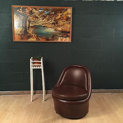 Retro Vintage Mid Century Leatherette Cocktail Chair 1960s 70s