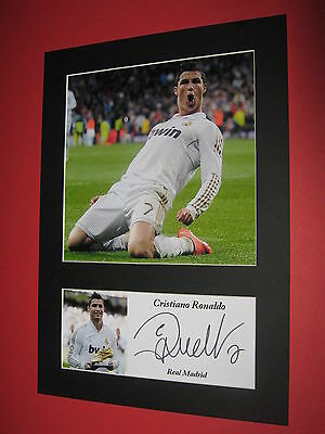 Cristiano Ronaldo Real Madrid Photo Mount Signed Reprint Autograph Lionel Messi