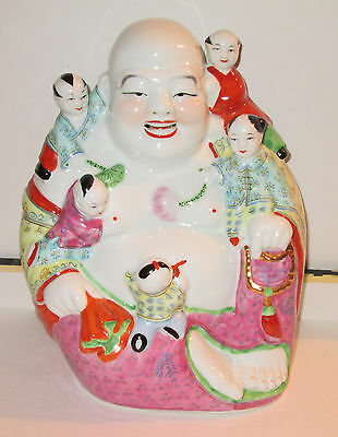 """Signed Antique Chinese Porcelain 10"""" Laughing Buddha with Children Statue Hotei"""