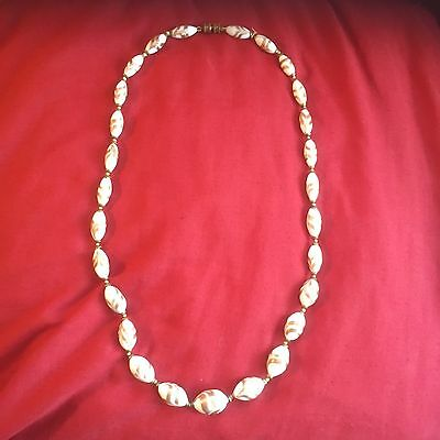 Vintage Deco Venetian Pos Murano White With Gold Aventurine Glass Bead Necklace