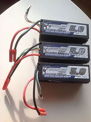 Three Turnigy 4S 5000 mAh 20-30C Hard Cased Lipo Packs