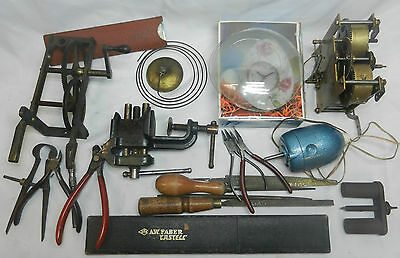 Job lot of clock tools and movements (8), no reserve