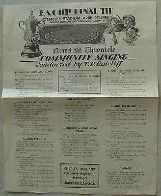 SONGSHEET: FA Cup Final 1935 Sheffield Wednesday v West Brom