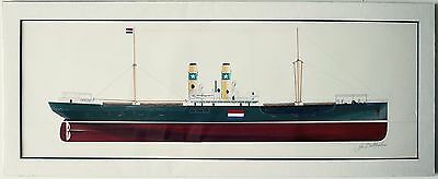 WWII Ship line drawing Watercolour artist John Batchelor MBE 1936 signed