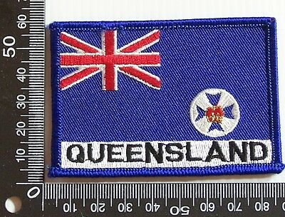 Vintage Queensland Qld Embroidered Souvenir Patch Woven Cloth Sew-On Badge