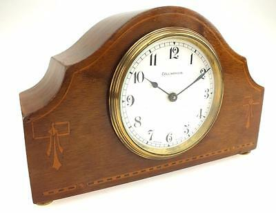 Marvelous Antique Swiss Surpintine Mahogany Inlaid 8 Day Mantel Carriage Clock