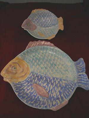 Set of 2 Fish Platters Plates Dishes Nautical Set