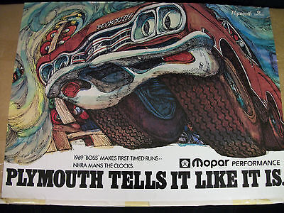 "1969 Plymouth GTX""Boss"" Poster Advert Repro Year 1989 of 1969 Orig. FREE SHIP"