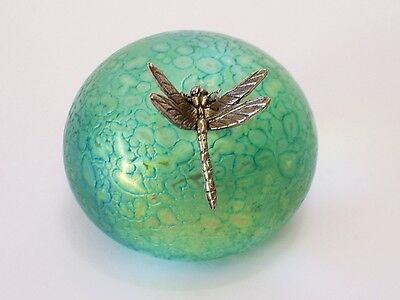 Lovely Vintage Heron Glass Iridescent Blue Paperweight With Pewter Dragonfly